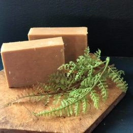 two bars of soap on a cutting board with greenery